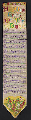 antique T.Stevens Coventry silk embroidered Happy Returns song music bookmark