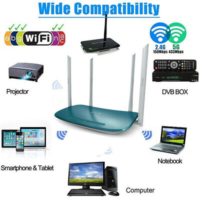 1200Mbps 2.4/5G Dual Band Wireless WiFi Range Extender Repeater Router 4 Antenna