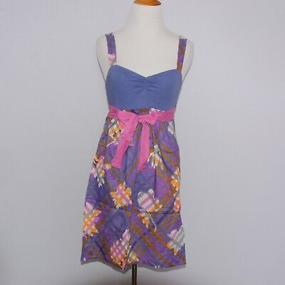 Anthropologie Eloise Purple Pink Orange Floral Plaid Print Size XS Chemise
