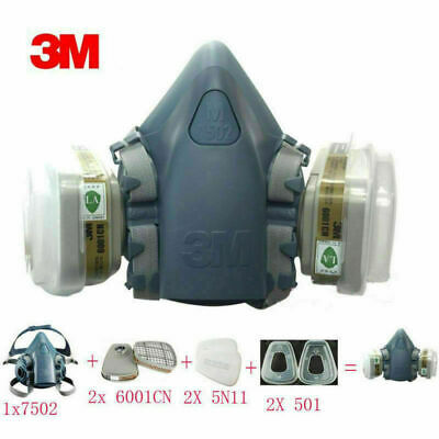 Particulate Paint Reusable Mask 6200 Dust 7502 Vapour Respirator Spray 7 in1 3M