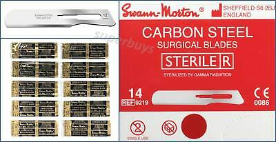 10x Swann Morton Steel No.14 Sterile Sealed Steel Surgical Scalpel Blades Sharp