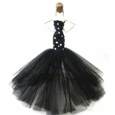 """Black Star Mermaid Clothes For 1/6 Doll Dress Fishtail Gown Dress For 11.5"""" Doll"""