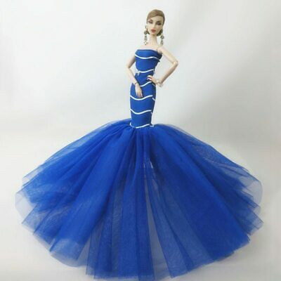 "Blue Mermaid Clothes For 1/6 Doll Dresses Fishtail Wedding Dress For 11.5"" Doll"