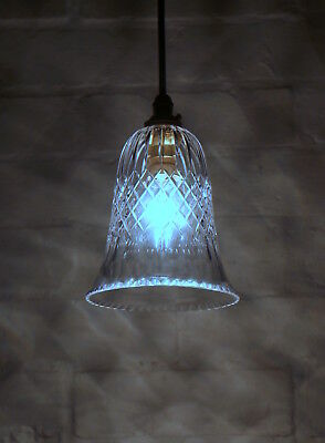 Antique Edwardian Cut Crystal Glass Bell Lampshade Ceiling Light Pendant C 1910