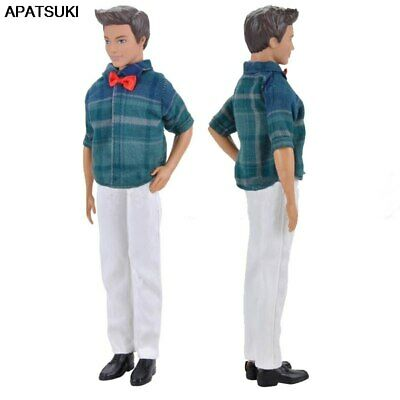 1set 1/6 Doll Clothes Blue Plaid Shirt & White Pants For Ken Doll Trousers Toy