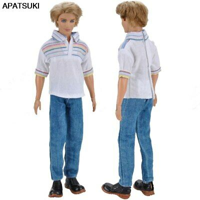 1set 1/6 Doll Clothes White Rainbow Shirt & Jeans Pants For Ken Doll Clothes Toy