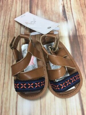 BNWT F&F Kids Girls Baby Summer Holiday Embroidered Brown Sandals up to 3 Months