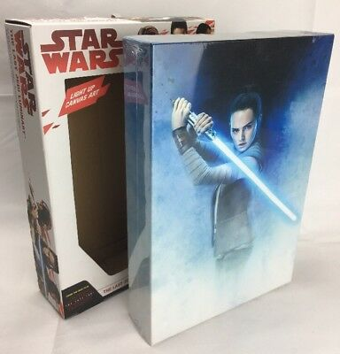 NEW Official Licensed Star Wars The Last Jedi Rey Luminart Light Up Canvas