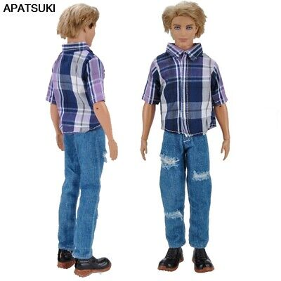 1set 1/6 Male Doll Clothes Plaided Shirt & Jeans Pants For Ken Doll Clothes Boy