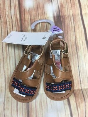 BNWT F&F Kids Girls Baby Summer Holiday Embroidered Brown Sandals 3-6 Months