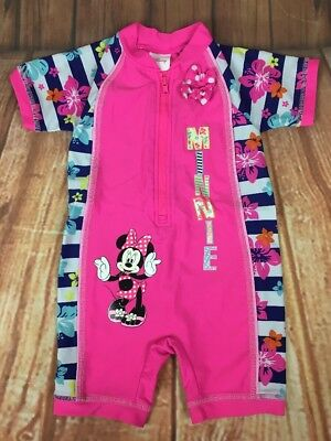 Disney Minnie Mouse Matalan Pink Floral Sun / Swimwear Swimsuit With Bow 12-18 M