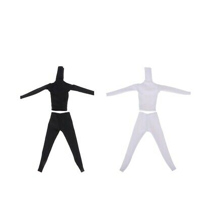 1:6 Scale Tight Cloth&Pants for 12inch Female Figure Doll,White&Black,2 Set