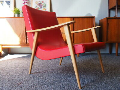 Vintage Mid Century Danish Style Easy Chair in Red Vinyl UK DELIVERY AVAILABLE