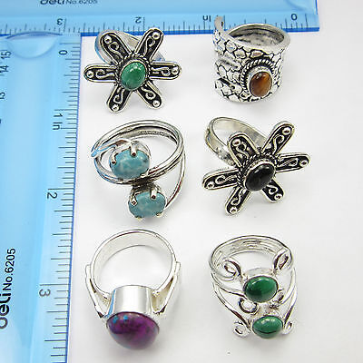 Classic RINGS 6 Pcs Mix Gemstone Lot, Assorted Styles RINGS ! 925 Silver Plated