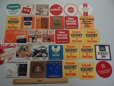 31 x MIXED COLLECTABLE CIGARETTE/TOBACCO BEER COASTERS / MATS BB2