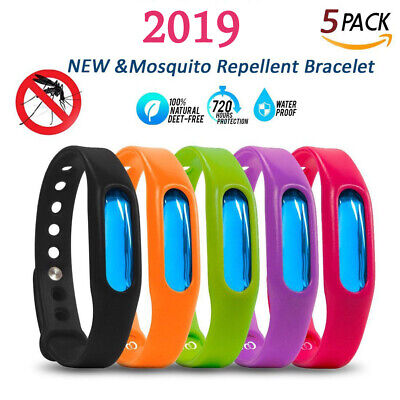 5pcs Natural Anti Mosquito Insect & Bug Repellent Bracelet Bands