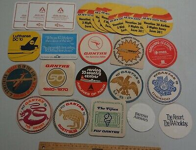 25 x MIXED COLLECTABLE WORLD AIRLINES BEER COASTERS / MATS BB8