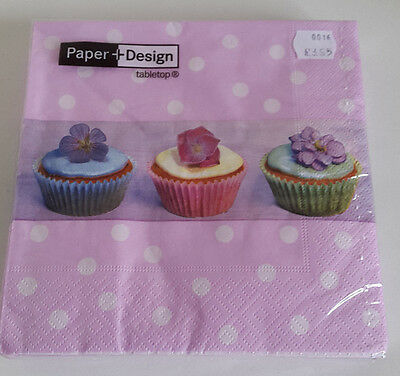 8 packs of 20 Lunch Paper Napkins. Cup Cakes / Pink Polkadot. 33x33cm. 3ply