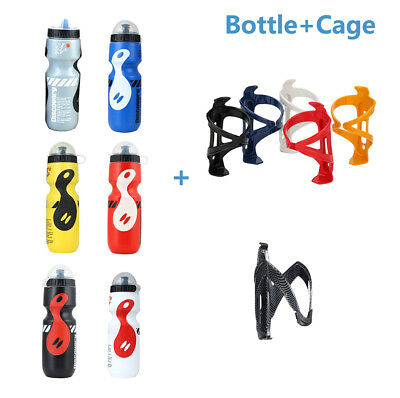 750ml Mountain Bike Bicycle Cycling Water Drink Bottle+Holder Cage Set Colorful