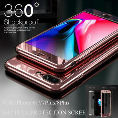 360° Mirror Shockproof Case Hybrid Tempered Glass Cover For iPhone XS MAX 7 8 6s