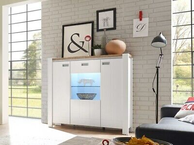 Modern Cottage Country Glass Display Cabinet 3 Door Unit White Oak LED Lights DR