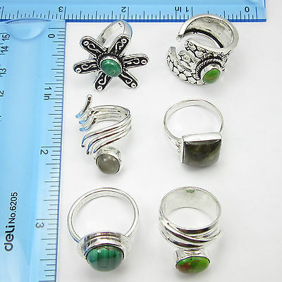WHOLESALE LOT 6PCS MIX NATURAL STONE FREE SHIPPING !! 925 Silver Overlay Rings