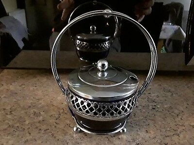 VINTAGE silver plated DISH footed BLUE GLASS liner VINE BOWL