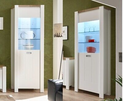 Modern Cottage Country Glass Tall Display Cabinet Storage Unit LED White Oak DR