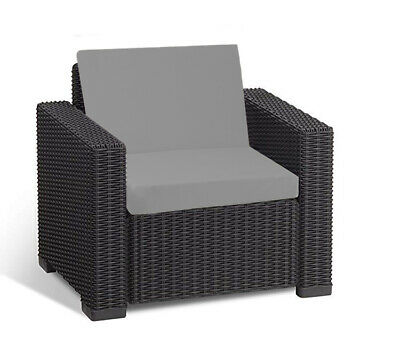 Keter Allibert California Cushion Pads Rattan Garden Furniture Armchair Grey