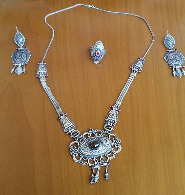 Antique Ottoman Set 925 Silver Ruby Ring, Silver Earrings and Necklace