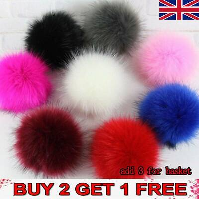 Faux Pom Pom Ball Raccoon Fur With Press Button Knitting DIY Hat Scarf Shoes BE