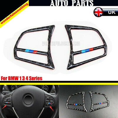 Carbon Fiber Steering Wheel Interior Accessories Strip For BMW 1 3 4 Series 2Pcs