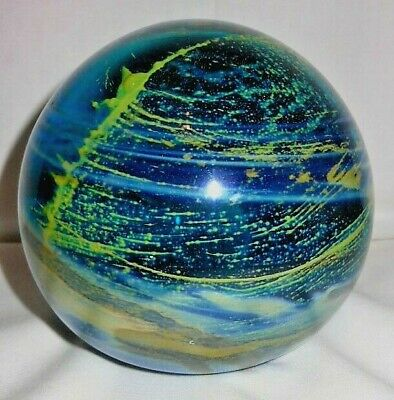 Mdina c.1970's Paperweight, Extra Large, Blue With Yellow Green Streaks, Etched