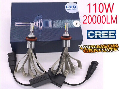 2x 110W 20000LM CREE LED Lampe Ampule Feux Voiture Phare H7 H4 H1 H11 9005 6000K
