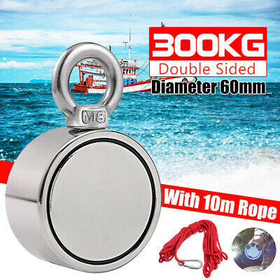 300KG D60mm Double Side Pulling Neodymium Magnet Metal Detector Hunting 10M Rope