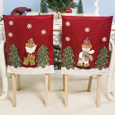3 Packs Christmas Decorative Santa Claus Chair Covers Xmas Embroidery Gift