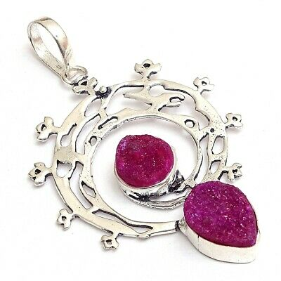 "Natural Pink Sugar Druzy Gemstone Superb Silver Plated Pendant Jewelry 1.5"" Xk1"
