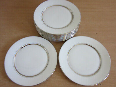 "Set of 10 Lenox Oxford bone China ""Lexington"" Platinum 6.5"" bread plates CLEAN"