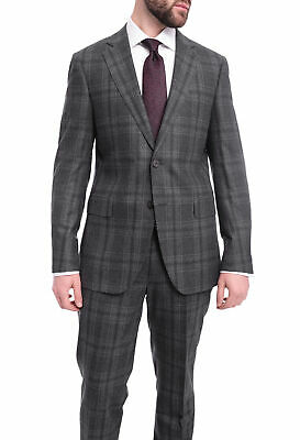 Napoli Slim Fit Charcoal Gray Plaid Windowpane Half Canvassed Zegna Wool Suit