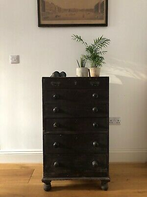 Antique Black Painted Chest of Drawers