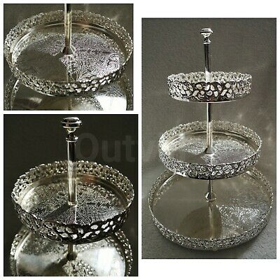 Silver 3 Tier Cake Tray Indian Round Gallery Plate Paandan Paan Tea Tray Biscuit
