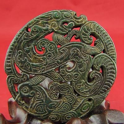 Chinese old jade green jade pendant hand-carved dragon phoenix B278