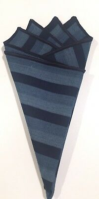 Pocket Square Blue Striped With Navy Blue Stitched Border By Squaretrapny.com