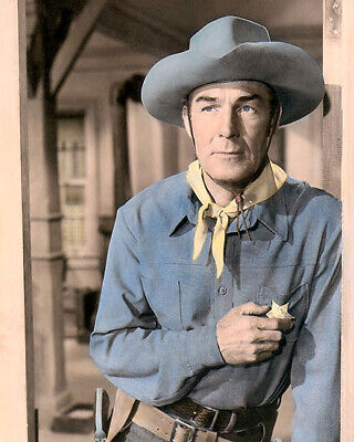 """RANDOLPH SCOTT TEN WANTED MEN 1955 HOLLYWOOD ACTOR 8x10"""" HAND COLOR TINTED PHOTO"""