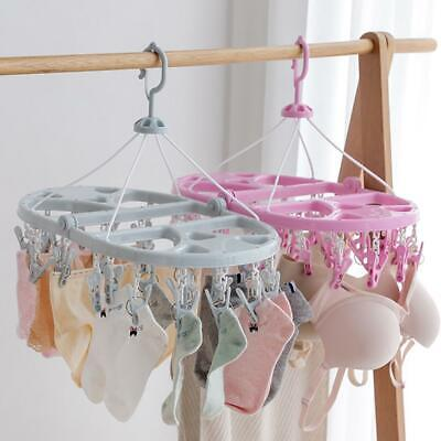 Foldable Round Clothes Hanger Rack Socks Clips Home Laundry C1MY