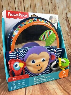 Fisher Price Monkey Mirror Baby Sensory Toy Textures Colours New Born Gift