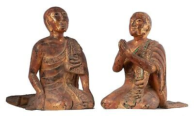 19th Century Burmese Wood Kneeling Buddha Disciples Statue (Pair) - 31cm/12""