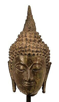 Antique 18th Century Sukhothai Mounted Bronze Buddha Head - 25cm/10""