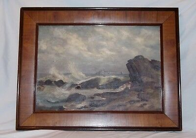 Coastal Seascape Oil on Canvas Painting w Walnut Wood Frame Unsigned Ca 1900
