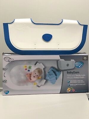 Ex Display, Still Boxed BabyDam Baby Bathwater Barrier Baby Tub - White/Blue
